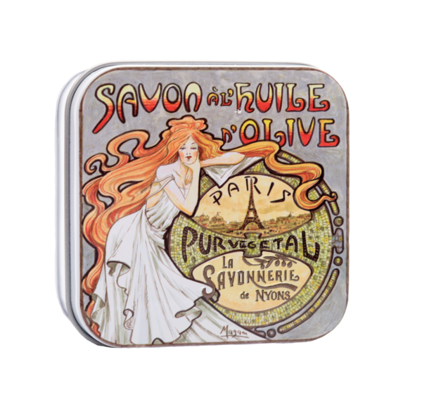 Almond Soap by Savonnerie de Nyons in a vintage tin Eiffel Tower (3.5oz/100g)