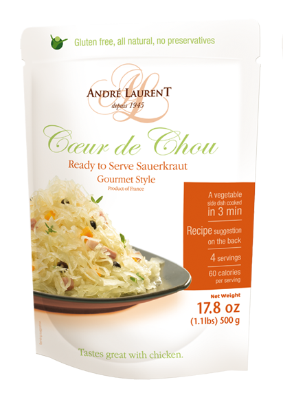 Coeur de Chou Sauerkrout Andre Laurent/ Choucroute  Gourmet Style (17.8oz/500g)