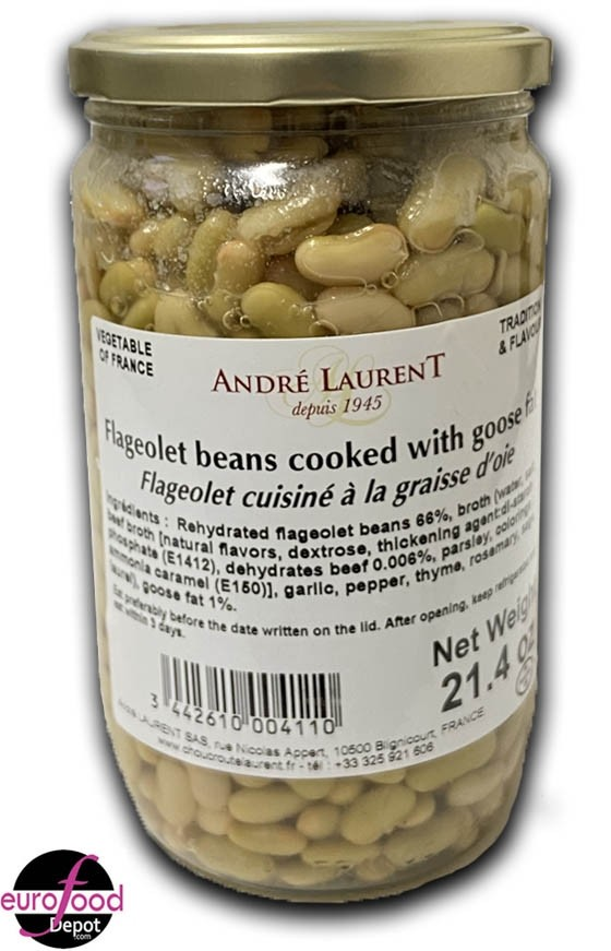 Flageolet Beans cooked with Goose Fat - Andre Laurent (600g/21.4oz)