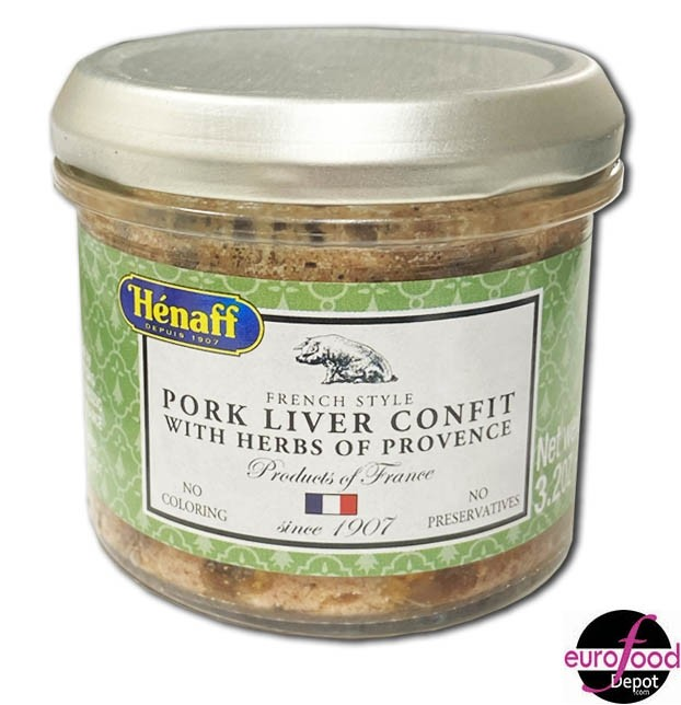Hénaff Pork liver confit with Provence herbs glass jar (90g/3.2oz)