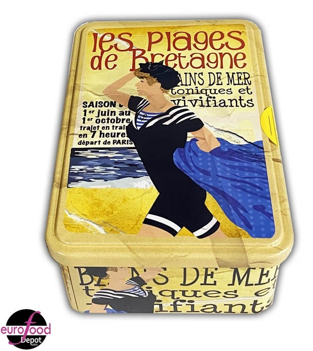 Galettes Bretonnes in Brittany Beach Metal Tin by Maison Peltier