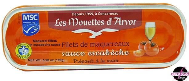 Mackerel Fillets with Escabeche Sauce - Mouettes D'Arvor (5.96oz/169g)