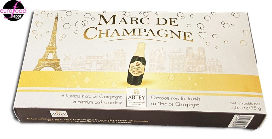 6 bottle-shaped dark chocolate filled w/Marc de Champagne by Abtey