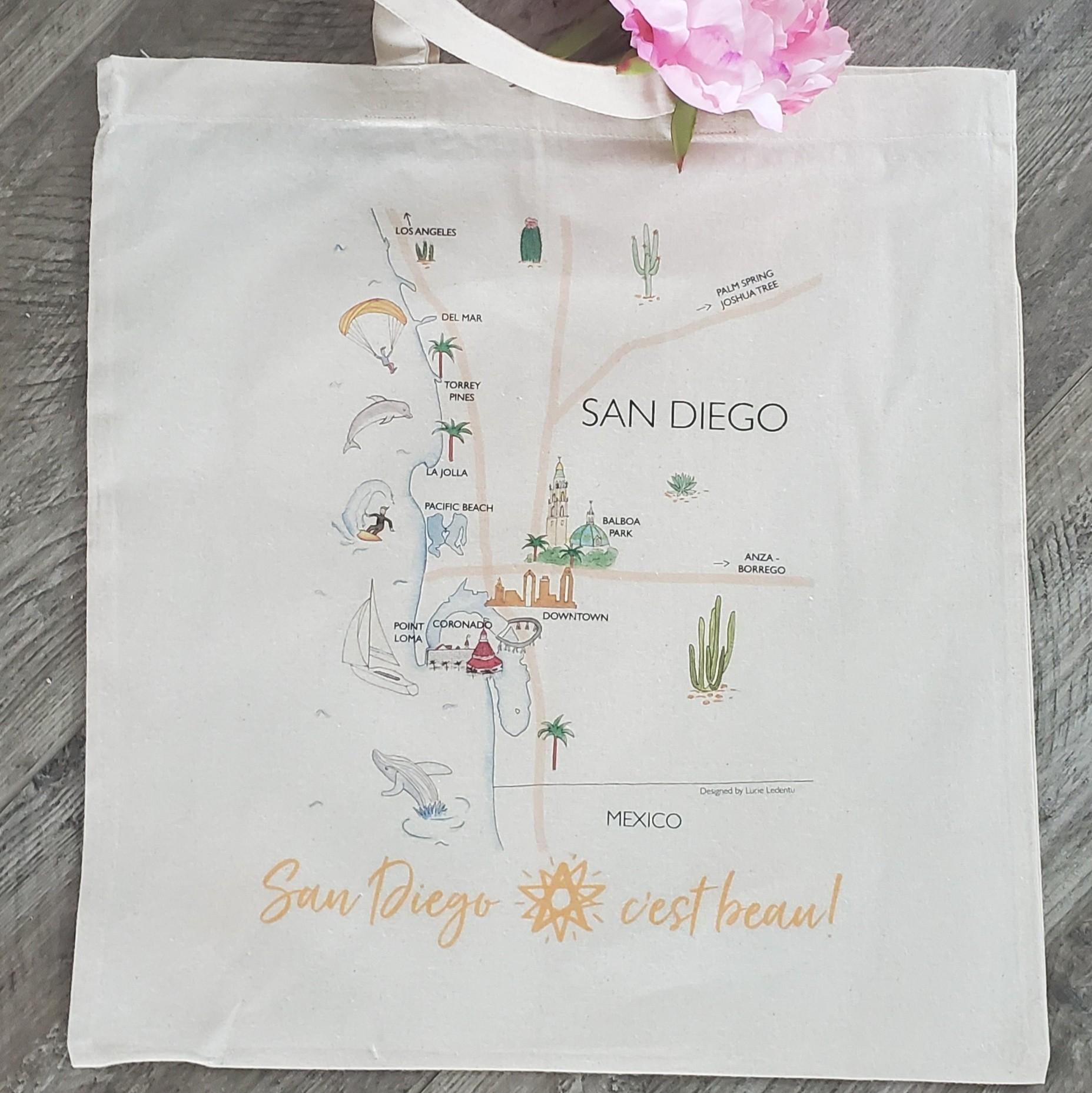Organic Cotton Tote Bag San Diego C'est Beau