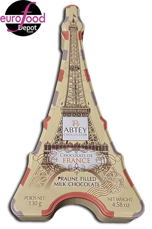 Eiffel Tower Tin W/10 Milk Chocolate Pralines by Abtey