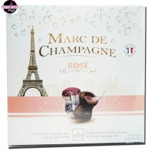15 cork-shaped chocolates filled w/ Marc de Champagne Rosé by Abtey