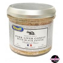 Hénaff Pork liver confit with peppercorn glass jar (90g/3.2oz)