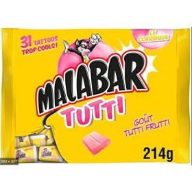 Malabar Bubble gum tutti frutti sachet 32 pieces 214g (7.6 oz)