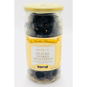 French Olives Noires Aromatisees with Provence Herbs - Barral (8oz/230gg)