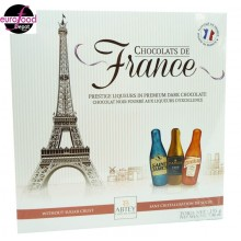 12 bottle-shaped chocolates filled w/ liqueurs of France by Abtey
