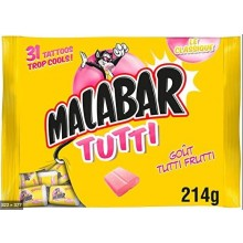 Malabar Bubble gum tutti frutti sachet 32 pieces 214g (7.6 oz)