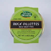 Duck Rillettes  ( glass Jar) Fabrique Delices - All natural