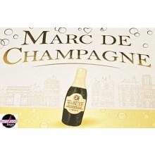 6 bottle-shaped dark chocolate filled w/Marc de Champagne by Abtey